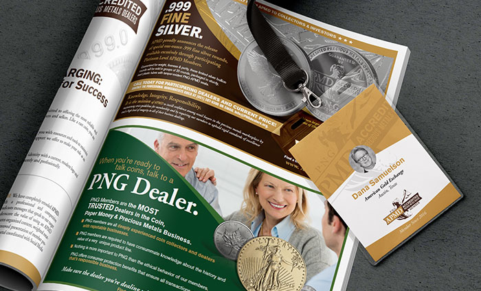 Accredited Precious Metals Dealers Print Advertising and Collateral