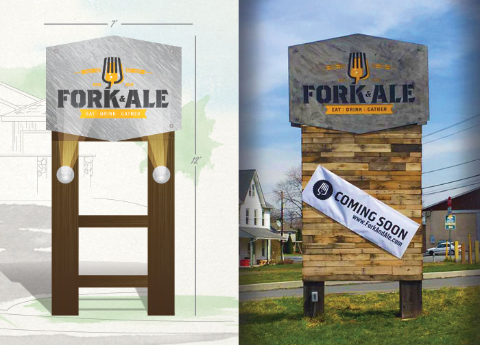 Fork and Ale Restaurant Retail Signage and Branding